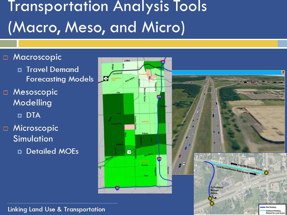 Transportation Analysis Tools (Macro, Meso, and Micro)