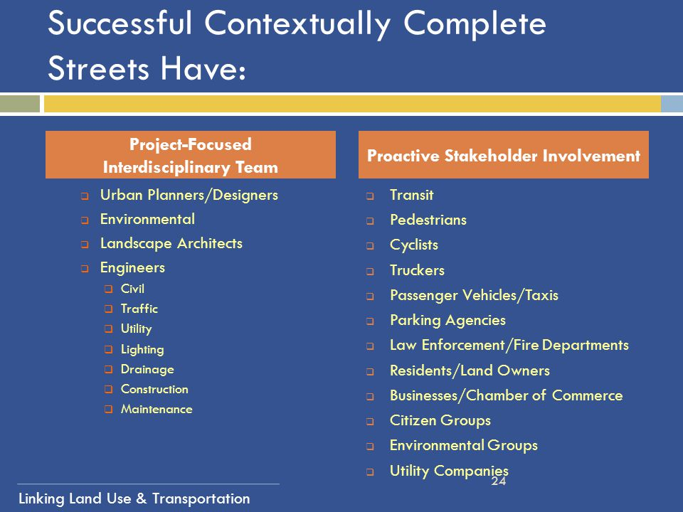 Successful Contextually Complete Streets Have: