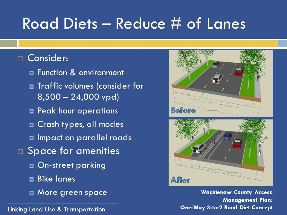 Road Diets – Reduce # of Lanes