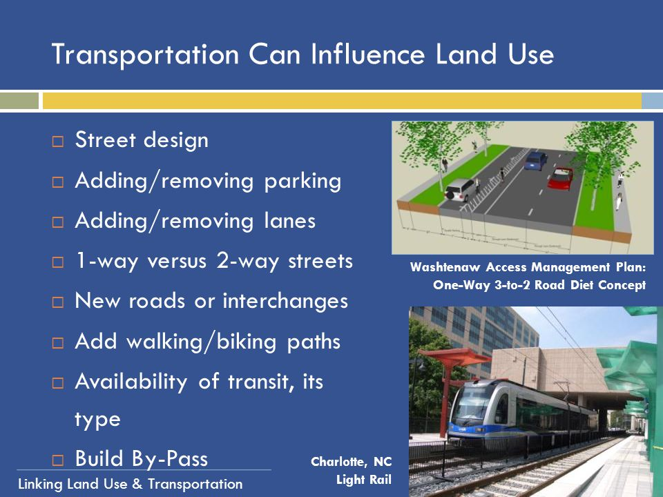 Transportation Can Influence Land Use