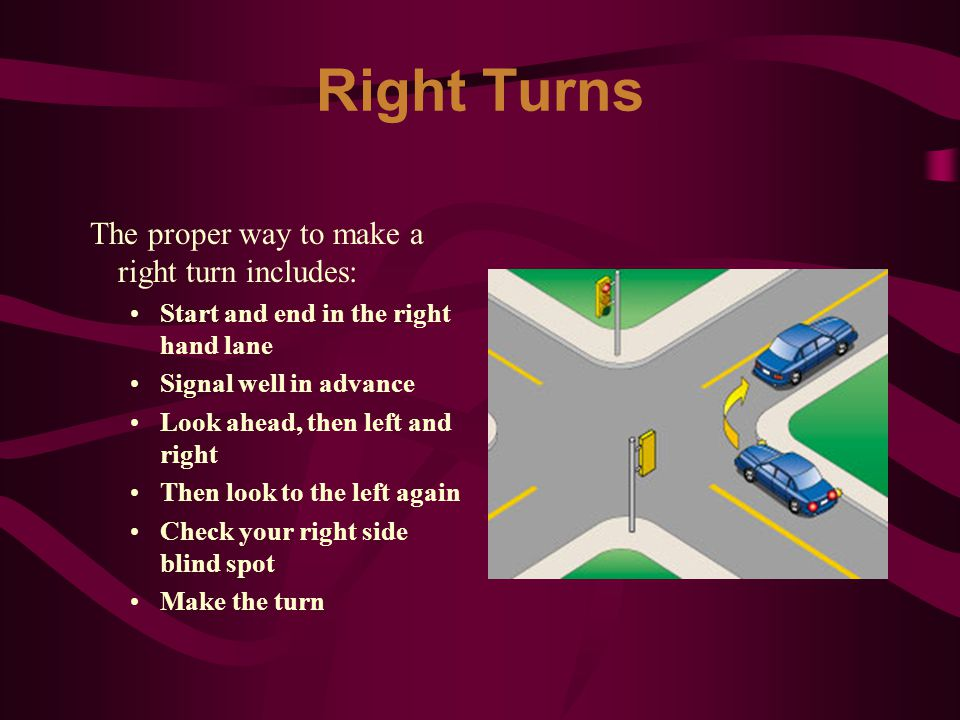 Right Turns The proper way to make a right turn includes: