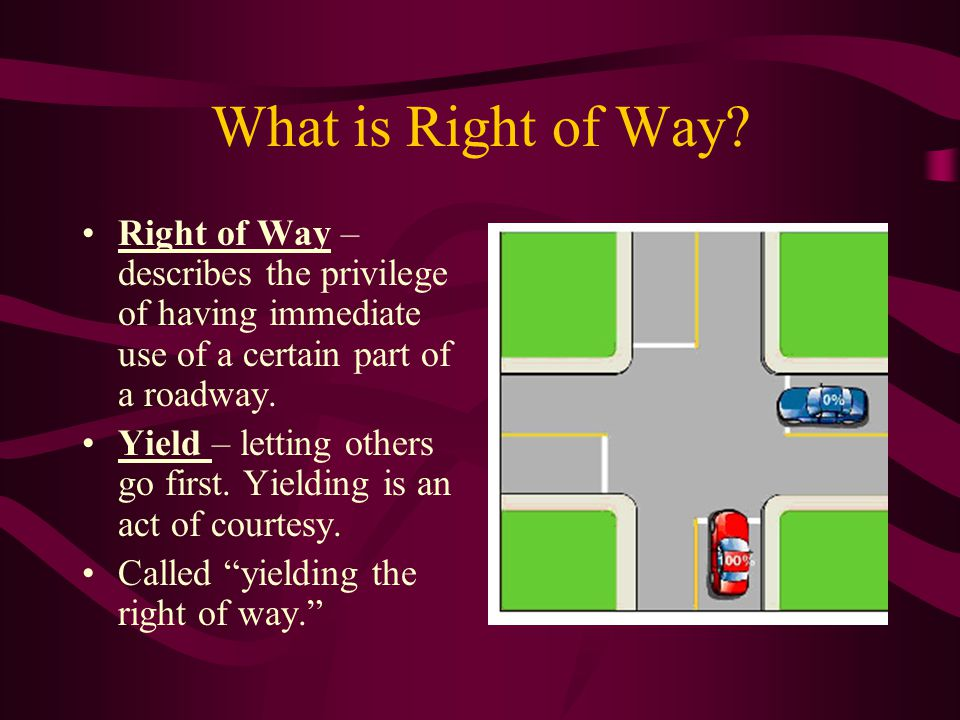 What is Right of Way Right of Way – describes the privilege of having immediate use of a certain part of a roadway.
