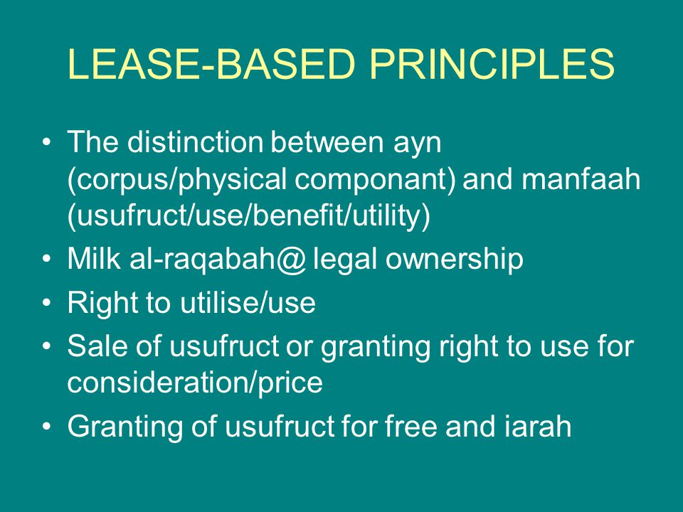 LEASE-BASED PRINCIPLES