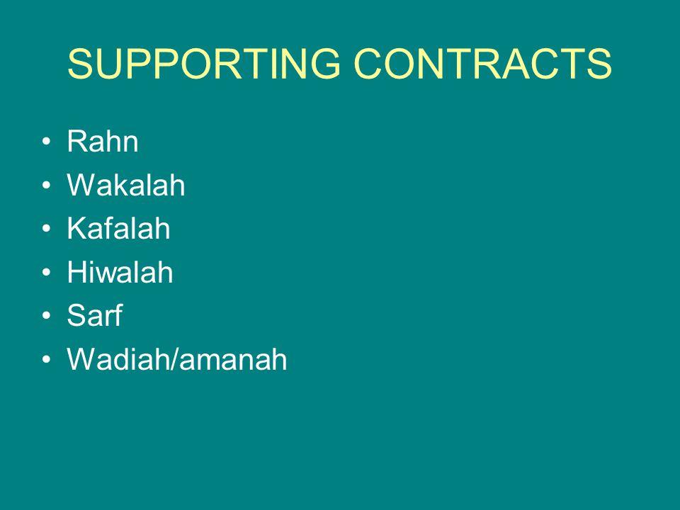 SUPPORTING CONTRACTS Rahn Wakalah Kafalah Hiwalah Sarf Wadiah/amanah