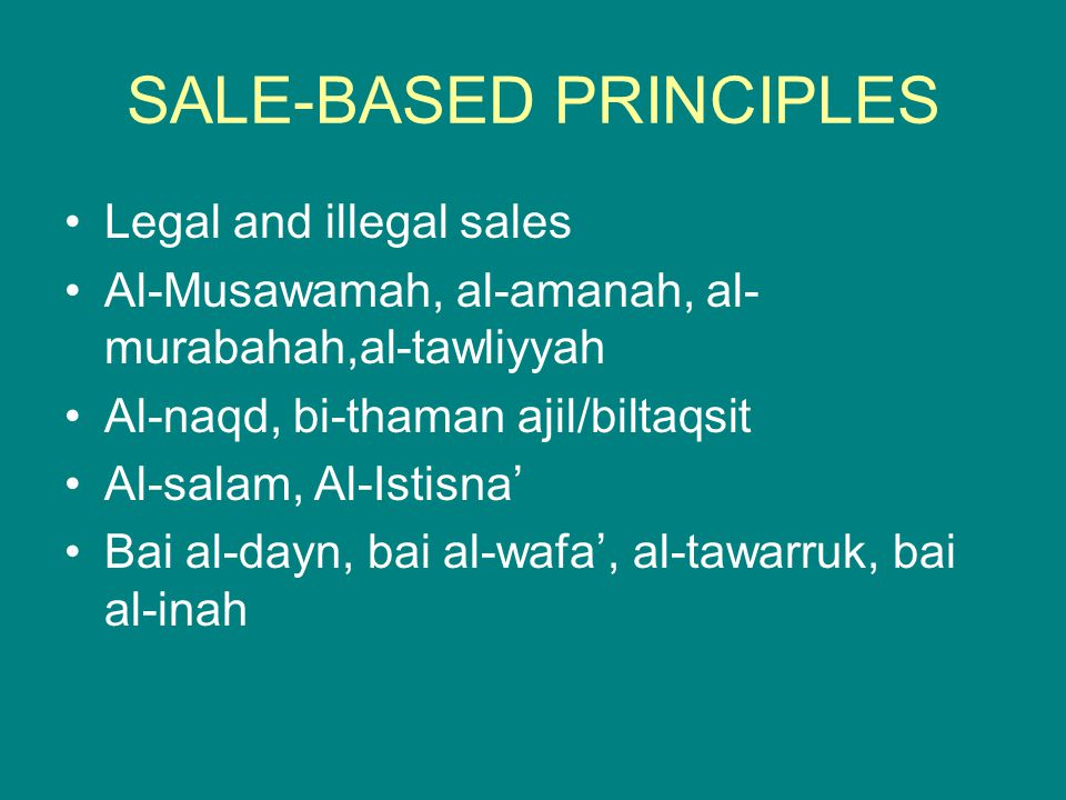 SALE-BASED PRINCIPLES