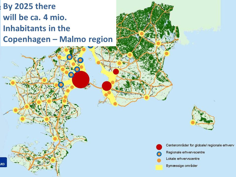 By 2025 there will be ca. 4 mio. Inhabitants in the Copenhagen – Malmo region