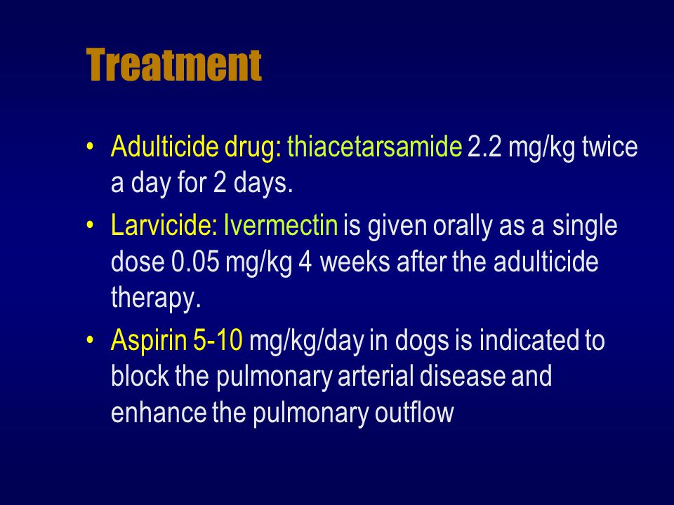 Treatment Adulticide drug: thiacetarsamide 2.2 mg/kg twice a day for 2 days.