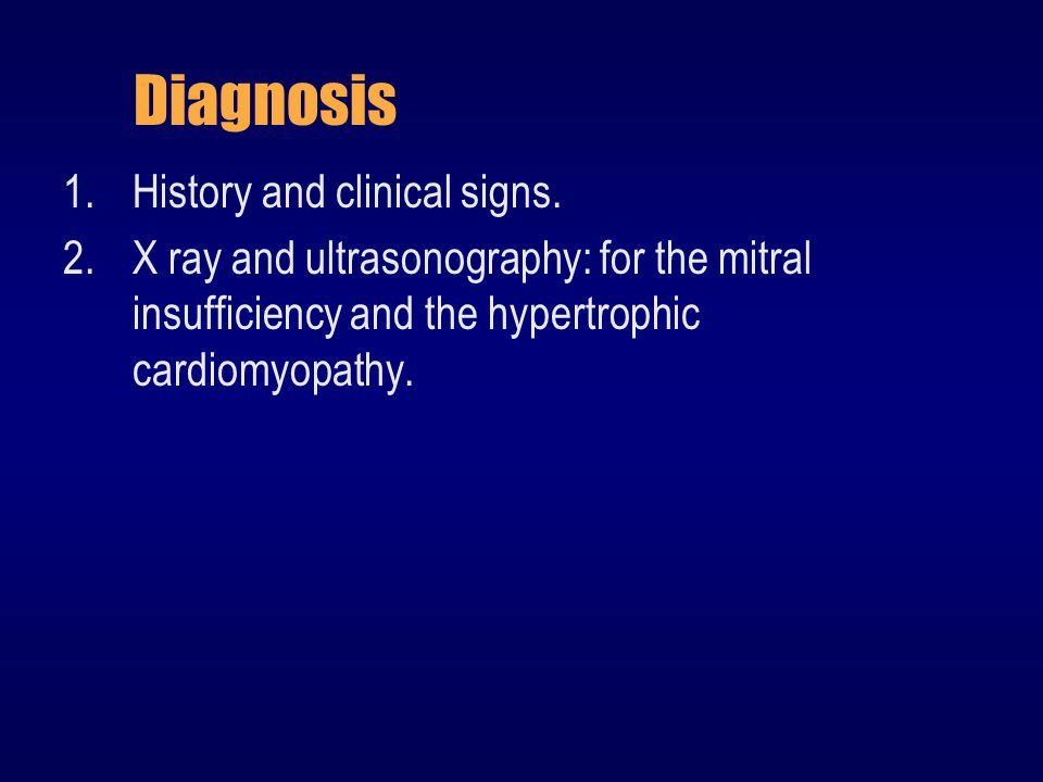 Diagnosis History and clinical signs.