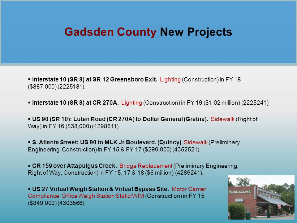 Gadsden County New Projects