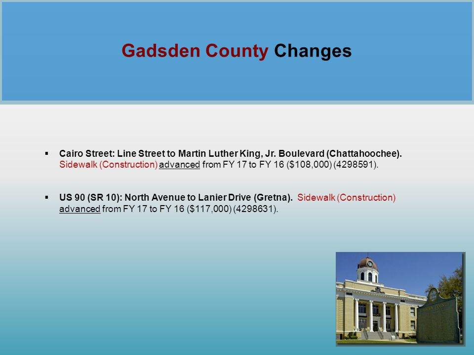 Gadsden County Changes
