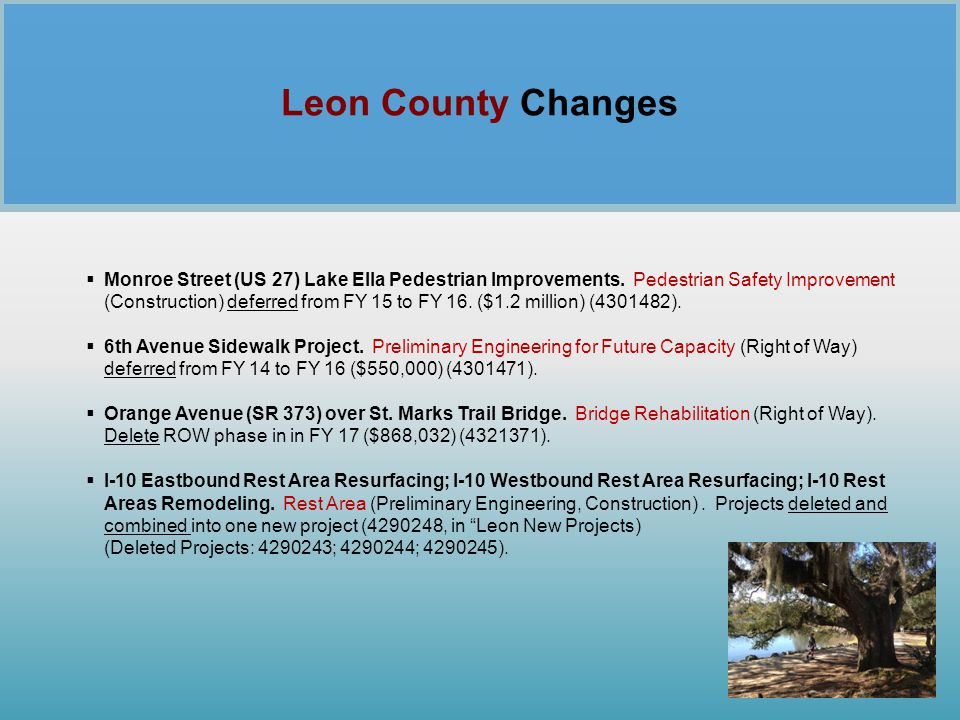 Leon County Changes