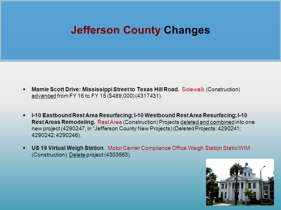 Jefferson County Changes
