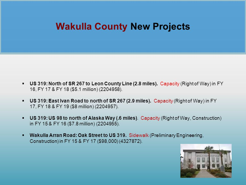 Wakulla County New Projects