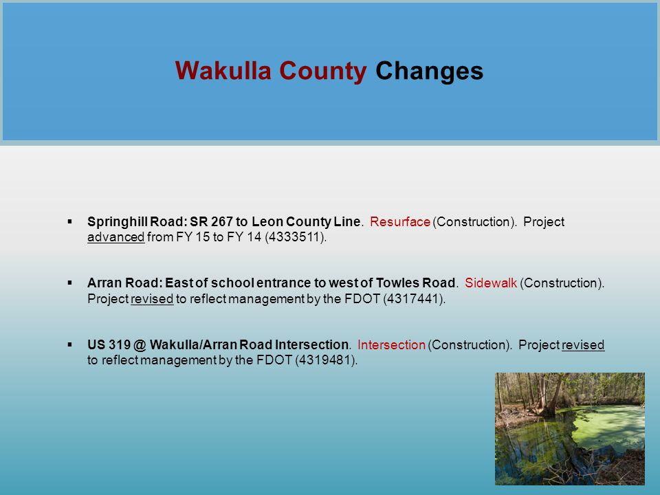 Wakulla County Changes