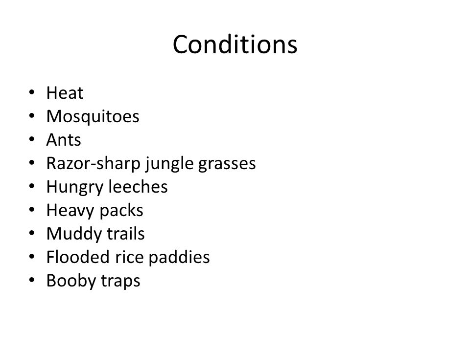 Conditions Heat Mosquitoes Ants Razor-sharp jungle grasses