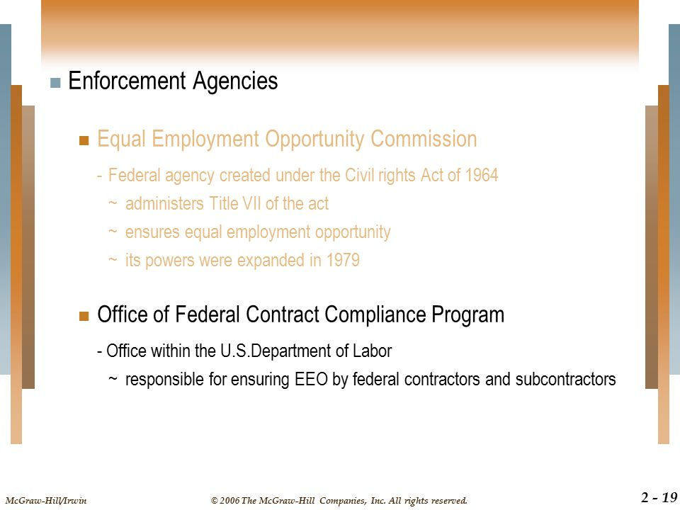 Enforcement Agencies Equal Employment Opportunity Commission