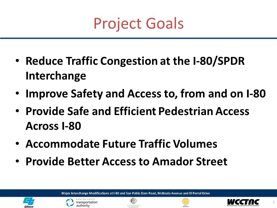 Project Goals Reduce Traffic Congestion at the I-80/SPDR Interchange