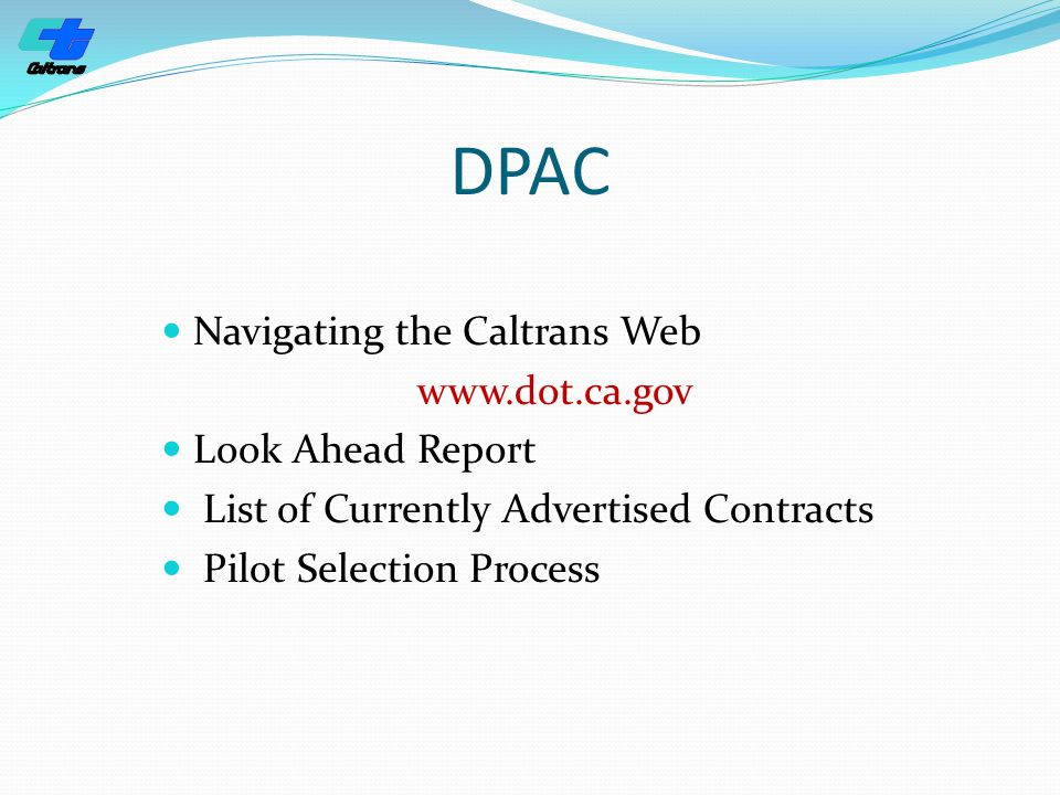 DPAC Navigating the Caltrans Web