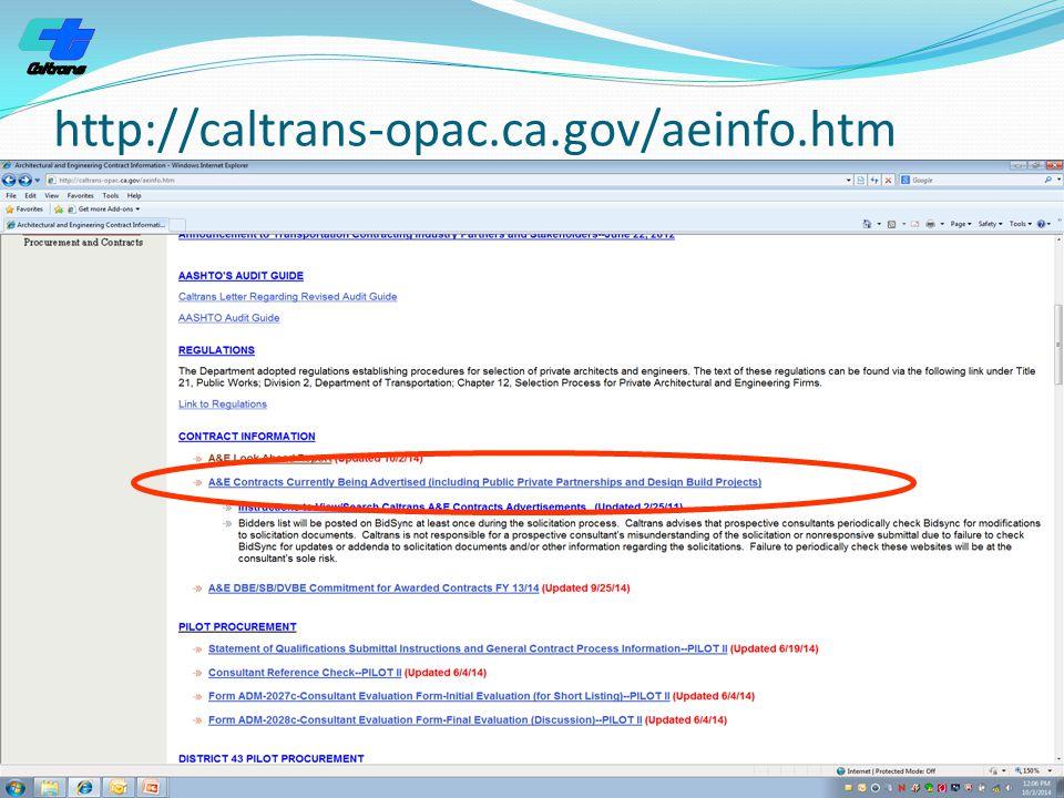http://caltrans-opac.ca.gov/aeinfo.htm