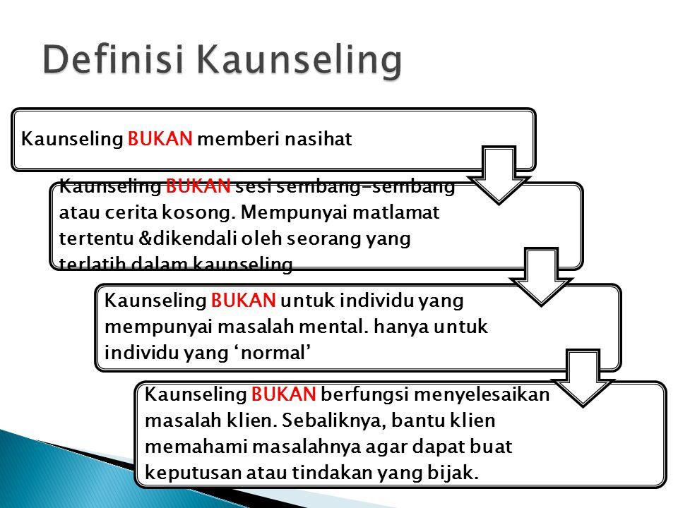 Definisi Kaunseling Kaunseling BUKAN memberi nasihat
