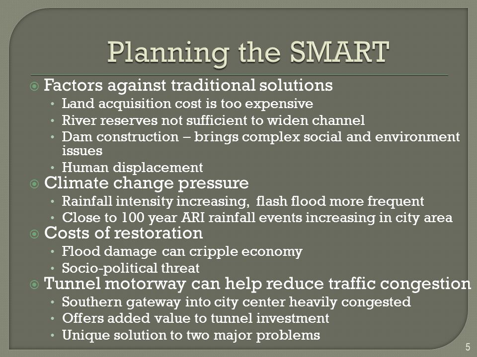 Planning the SMART Factors against traditional solutions
