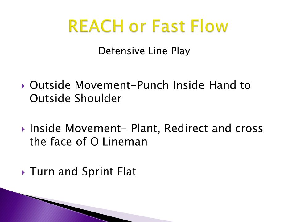 REACH or Fast Flow Defensive Line Play. Outside Movement-Punch Inside Hand to Outside Shoulder.