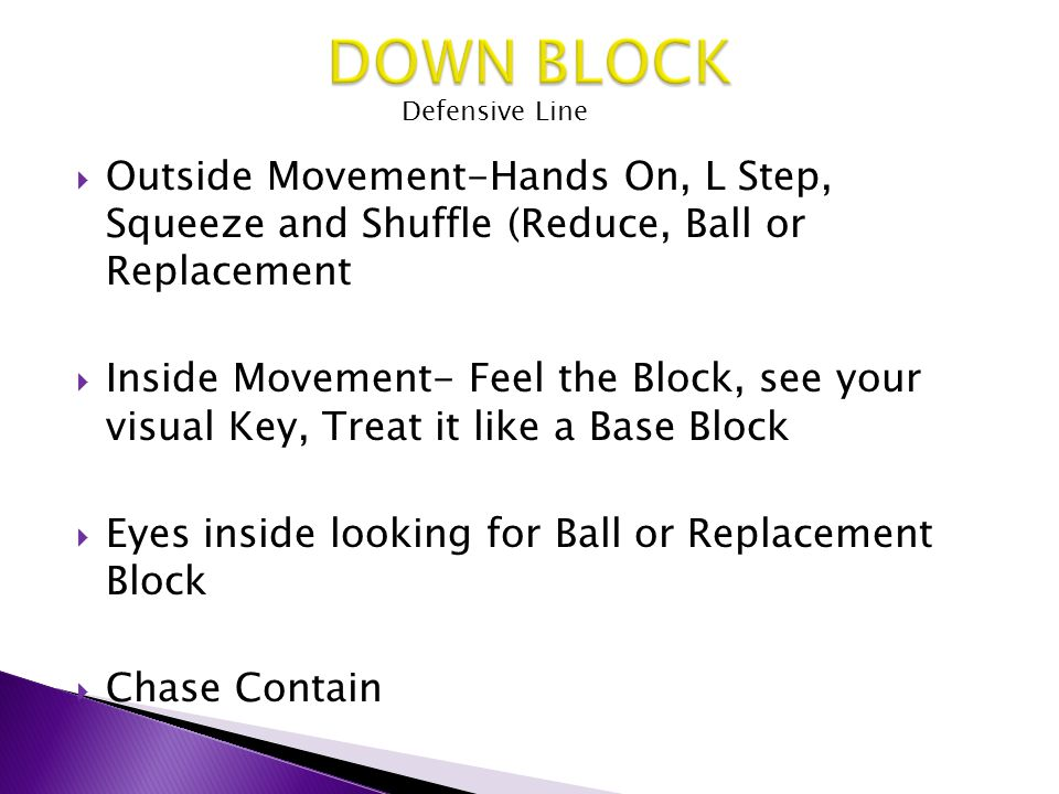DOWN BLOCK Defensive Line. Outside Movement-Hands On, L Step, Squeeze and Shuffle (Reduce, Ball or Replacement.