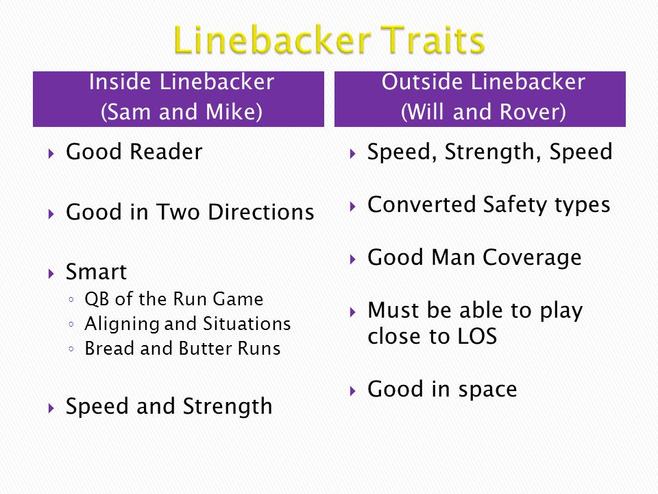 Linebacker Traits Inside Linebacker (Sam and Mike) Outside Linebacker