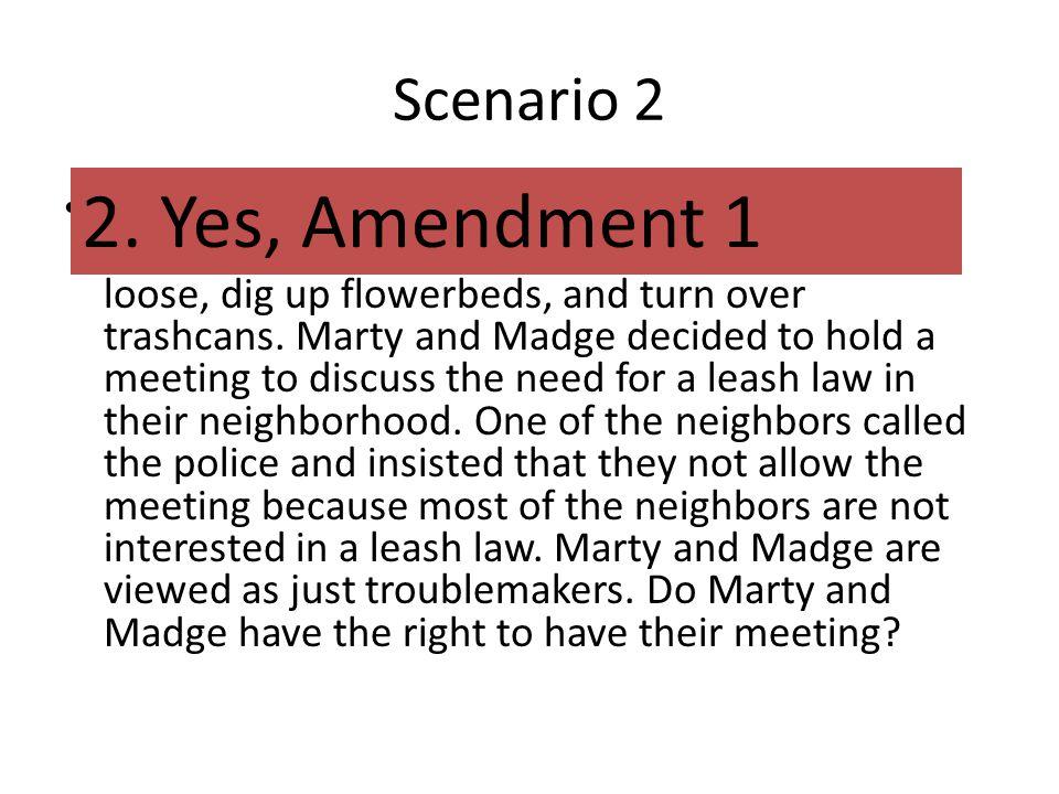 2. Yes, Amendment 1 Scenario 2