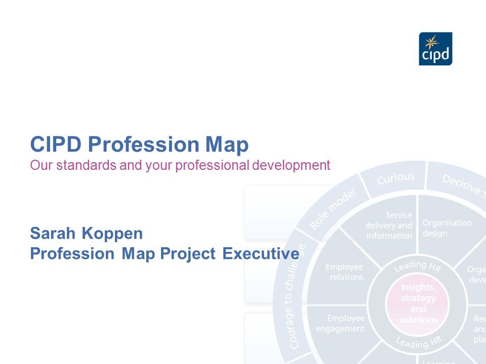 CIPD Profession Map Sarah Koppen Profession Map Project Executive