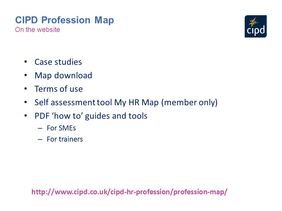 CIPD Profession Map Case studies Map download Terms of use
