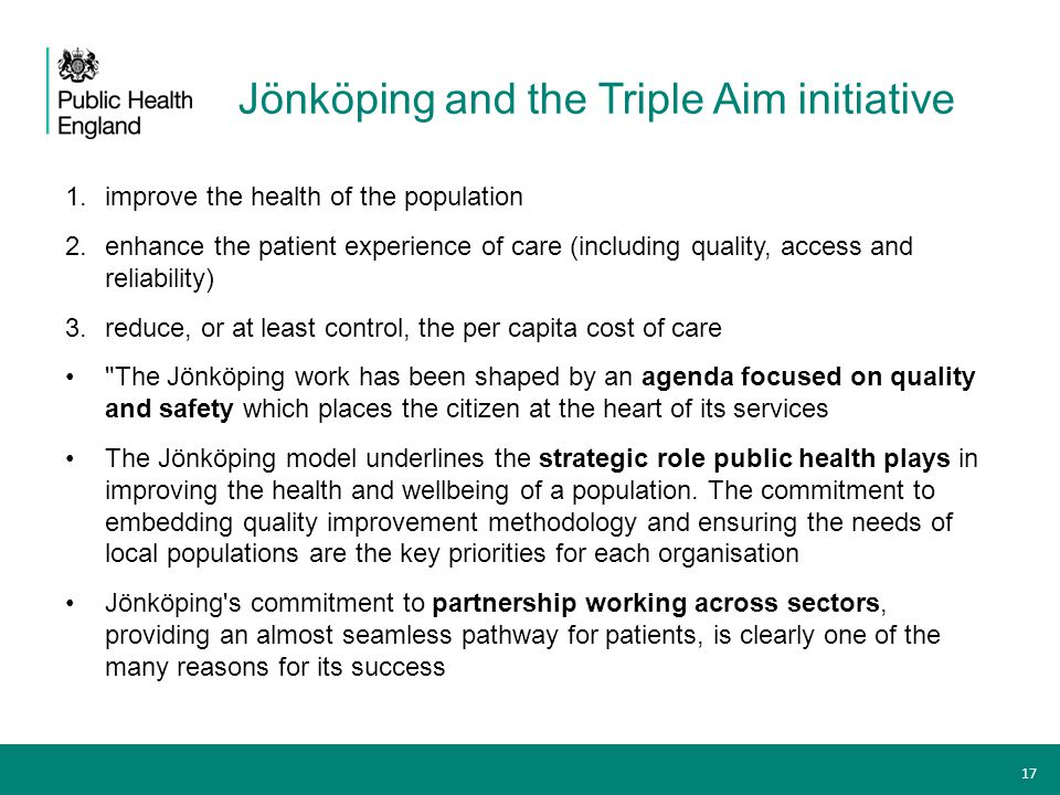 Jönköping and the Triple Aim initiative