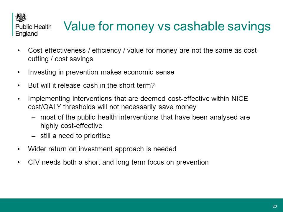 Value for money vs cashable savings