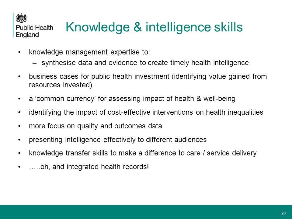 Knowledge & intelligence skills