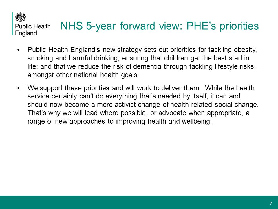 NHS 5-year forward view: PHE's priorities