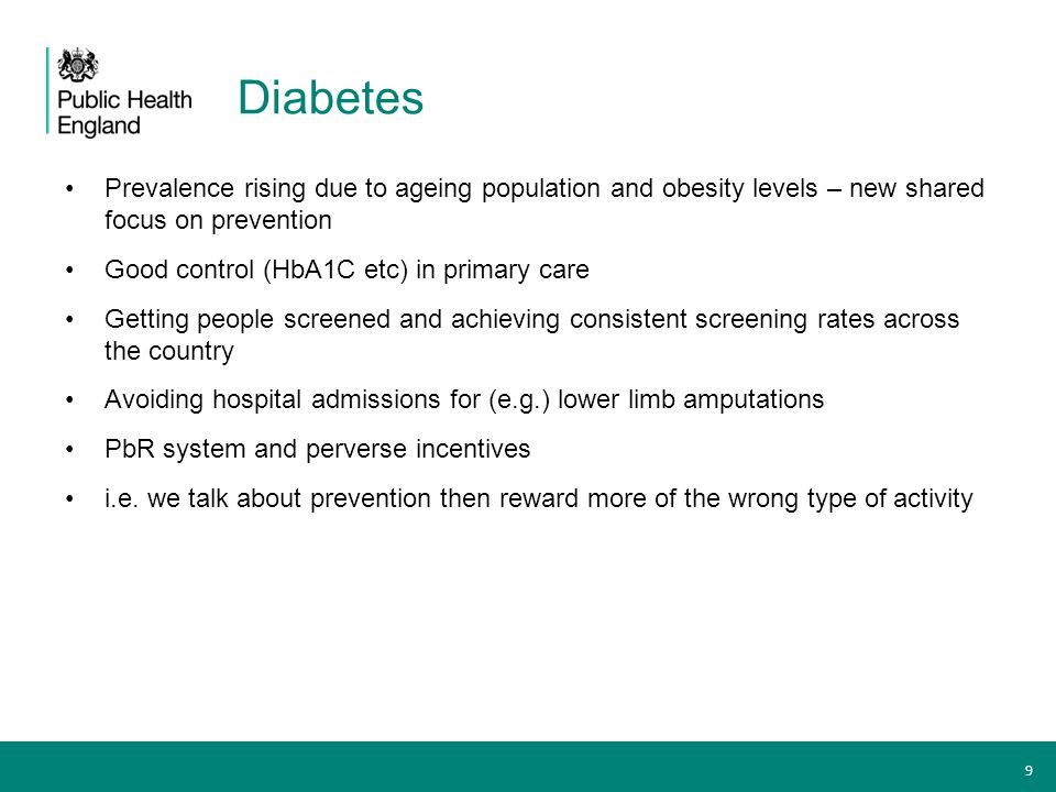 Diabetes Prevalence rising due to ageing population and obesity levels – new shared focus on prevention.