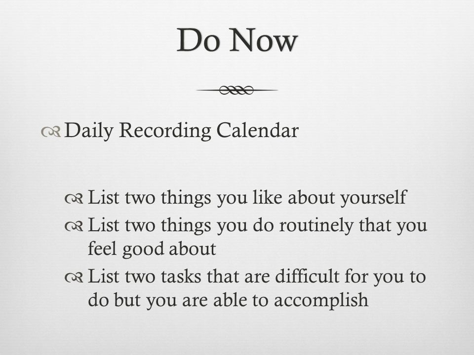 Do Now Daily Recording Calendar