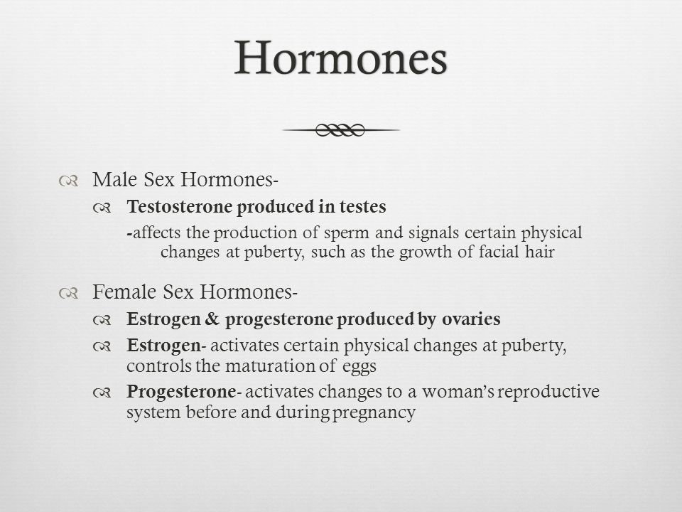 Hormones Male Sex Hormones- Female Sex Hormones-