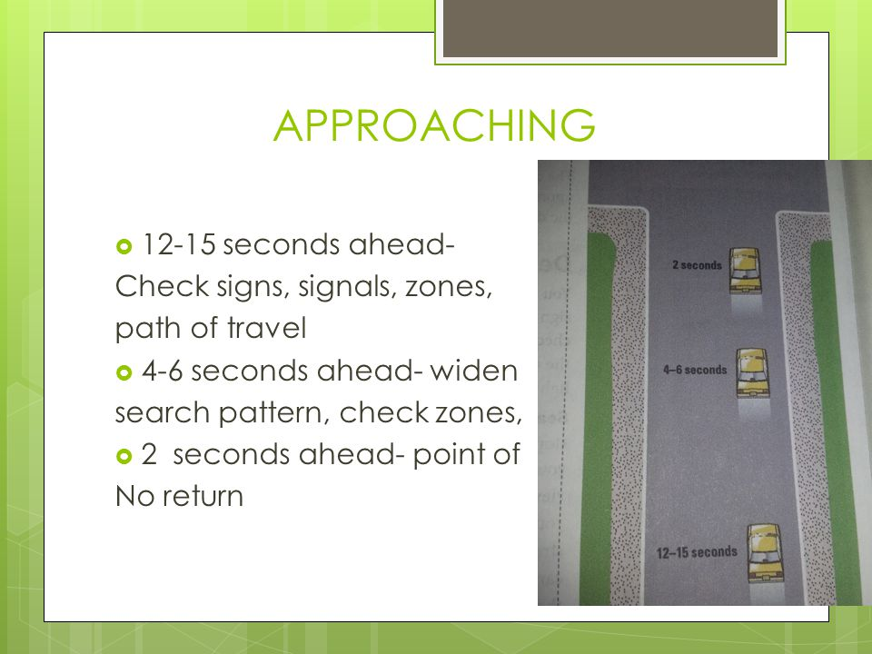 APPROACHING 12-15 seconds ahead- Check signs, signals, zones,