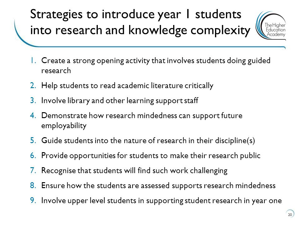 Strategies for course teams to introduce year one students into research and Strategies to introduce year 1 students into research and knowledge complexity