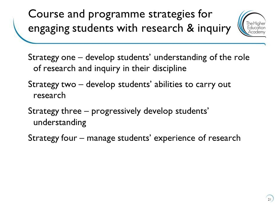 Course and programme strategies for engaging students with research & inquiry