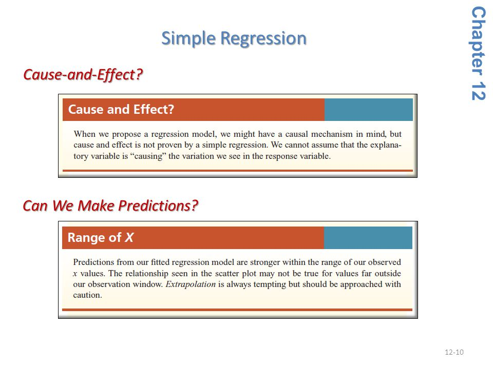 Simple Regression Chapter 12 Cause-and-Effect