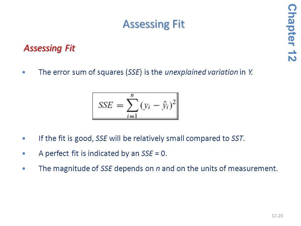 Assessing Fit Assessing Fit Chapter 12