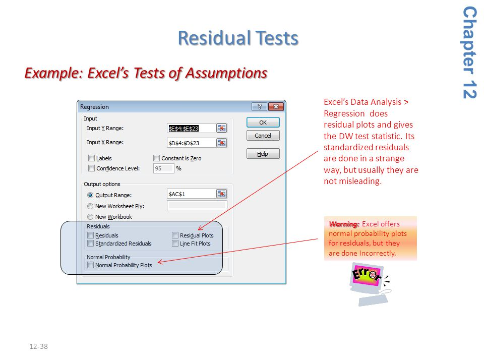Example: Excel's Tests of Assumptions
