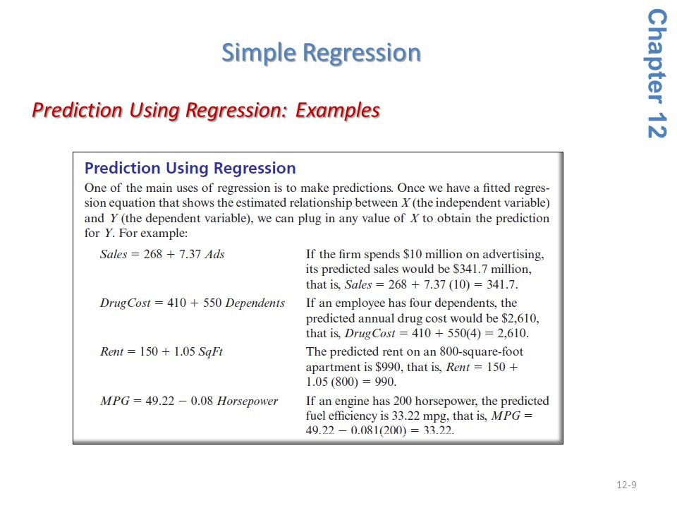 Prediction Using Regression: Examples