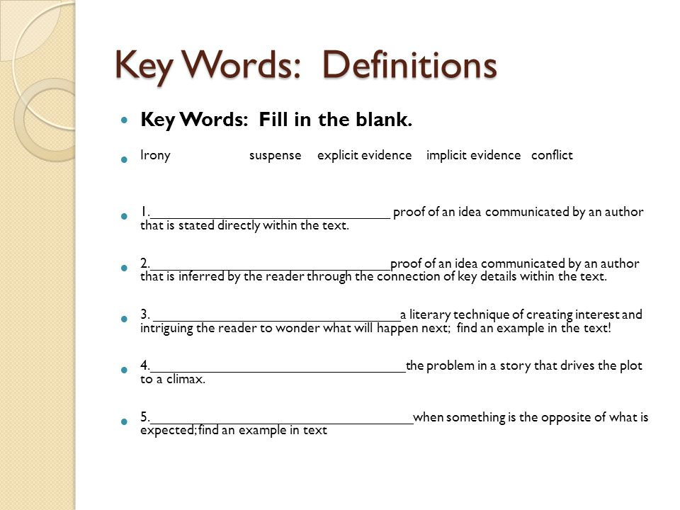 Key Words: Definitions