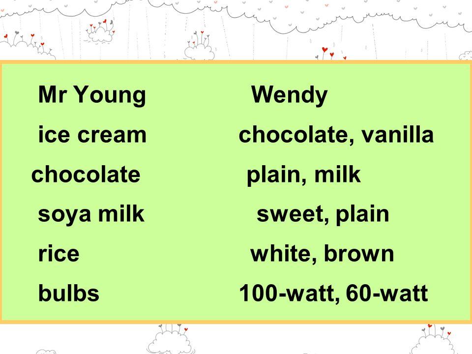 Mr Young Wendy ice cream chocolate, vanilla chocolate plain, milk soya milk sweet, plain rice white, brown bulbs 100-watt, 60-watt