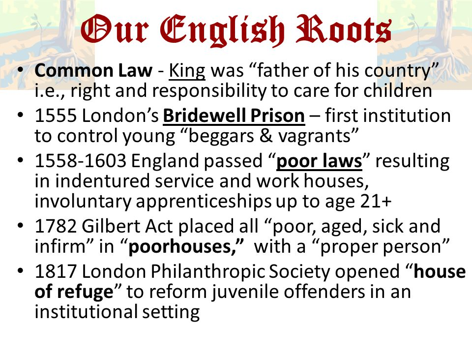 Our English Roots Common Law - King was father of his country i.e., right and responsibility to care for children.