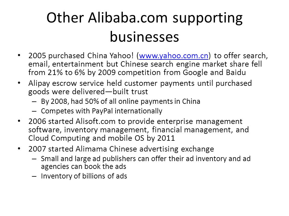 Other Alibaba.com supporting businesses