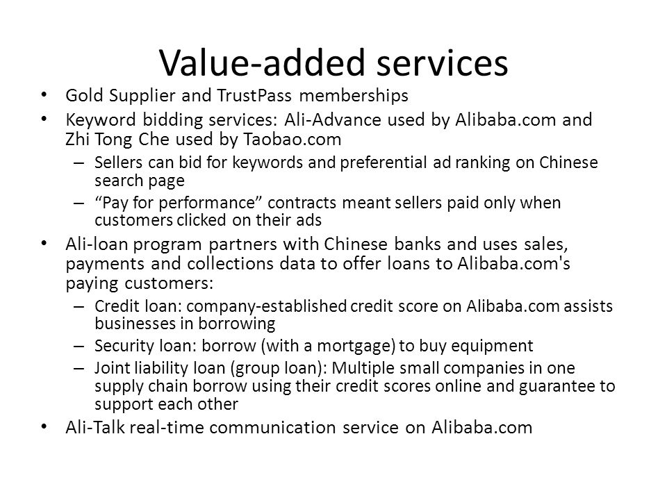 Value-added services Gold Supplier and TrustPass memberships